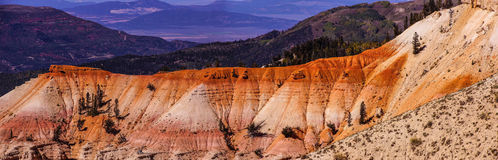 Panorama, fantasticly eroded red Navajo sandstone. Pinnacles and cliffs Cedar Breaks National Monument, Utah royalty free stock photography