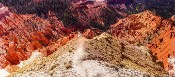 Panorama, fantasticly eroded red Navajo sandstone. Pinnacles and cliffs Cedar Breaks National Monument, Utah royalty free stock image
