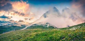 Panorama fantastico di estate di colori nel parco nazionale Tre Cime d Immagini Stock Libere da Diritti