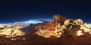 Panorama of fantasy landscape sunset, environment HDRI map. Equirectangular projection, spherical panorama Stock Photo