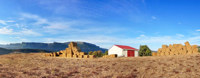 Panorama with farm bales Stock Images