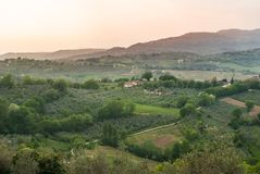 View on cultivated fields across of Umbria and Tuscany regions royalty free stock images