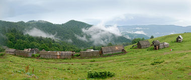 Panorama Farms in the Carpathians Royalty Free Stock Photography