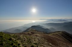 Panorama Fasce mountain. Landscapes with sunshine and low level haze Royalty Free Stock Photo