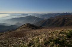 Panorama Fasce mountain. Valleys and landscapes, clear sky and haze Stock Photo