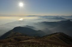Panorama Fasce mountain. City of Genoa valleys closer to the city, haze and sun Royalty Free Stock Image
