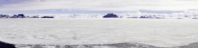 Panorama of fast ice, Gustaf Sound, Antarctica Royalty Free Stock Photo