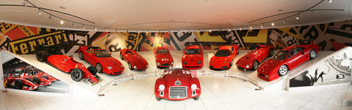Panorama of Ferrari sport cars Royalty Free Stock Photo