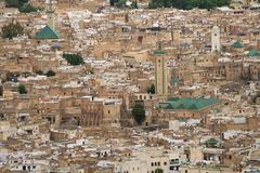 Panorama of Fes #3. Panoramic view at part of Fes town (Morocco Royalty Free Stock Photo