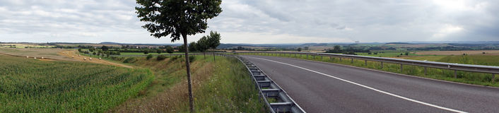Panorama of field and road. Panorama of farm fields and road in Luxembourg Stock Photography