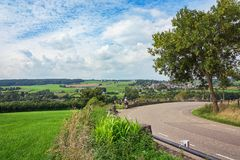 Panorama on the fields and meadows of the southern part of the N stock photography