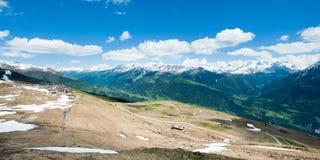 Panorama from Fiescheralp. Panorama of swiss alps from Fiescheralp, Wallis, Switzerland stock image
