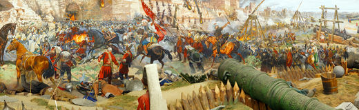 Panorama of the Final assault and the fall of Constantinople Royalty Free Stock Photo