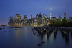 Panorama financeiro do distrito de New York City Manhattan Imagem de Stock