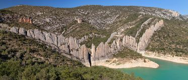 Panorama of the Finestres Wall Stock Image