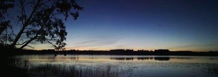 Panorama Finland Skandinavien för solståndnatt Arkivfoton