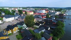 Panorama of the Finnish city of Porvoo. July day. Finland stock footage