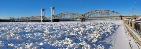Panorama Finnish railway bridge. St. Petersburg. Winter Stock Image