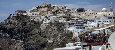 Panorama of Fira on Santorini, Greece Royalty Free Stock Images