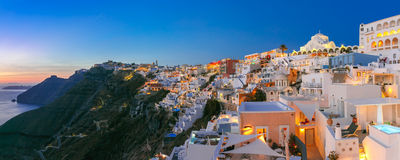 Panorama of Fira at sunset, Santorini, Greece Stock Image