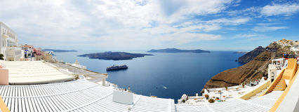 Panorama of the Fira town with view on Aegean sea Royalty Free Stock Images