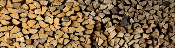 Panorama of firewood heap Royalty Free Stock Images