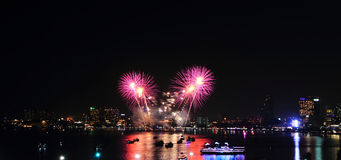 Panorama of Fireworks at the sea Stock Image