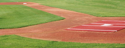 Panorama of the first base line Stock Photos