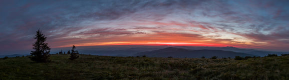 Panorama of First Light on Grassy Ridge Royalty Free Stock Photo