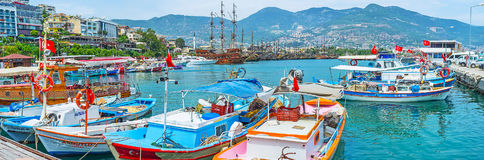 Panorama with fishing boats in Alanya Royalty Free Stock Images