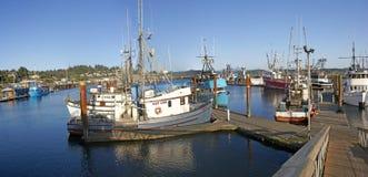 Panorama of fishing boats at anchor Stock Photos