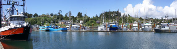 Panorama of fishing boats at anchor Stock Photo