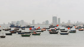 Panorama of fishing boats in the city of Da Nang Vietnam. stock video footage