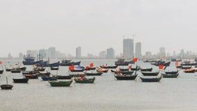 Panorama of fishing boats in the city of Da Nang Vietnam. Panorama of fishing boats in the city of Da Nang Vietnam stock video footage