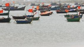 Panorama of fishing boats in the city of Da Nang Vietnam. stock video