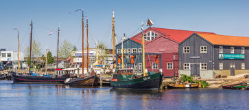 Panorama of fishing boats in Elburg Royalty Free Stock Photos
