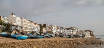 Panorama of fishing boats in Taghazout Royalty Free Stock Photos