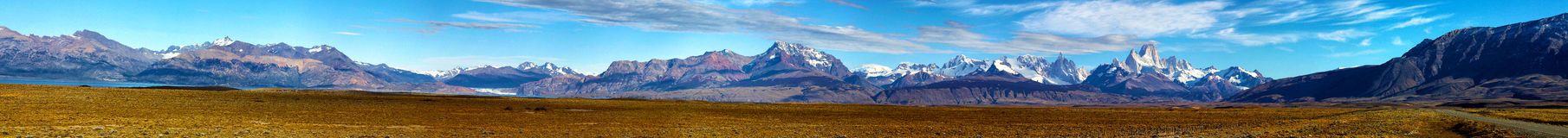 Panorama of Fitz Roy, Patagonia, Argentina. Great panorama of Mount Fitz Roy, Los Glaciares National Park, Patagonia Royalty Free Stock Images