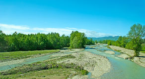 Panorama of Fiume Taro river Stock Photography
