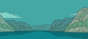 Panorama fjord in Norway. Vintage vector color engraving. Panorama fjord in Norway. Hand drawn design element sailing ship. Vintage vector color engraving Royalty Free Stock Photo
