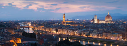 Panorama of Florence. And river Arno after sunset, Tuscany, Italy, Europe stock photo