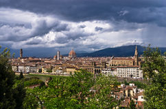 Panorama of Florence with dramatic sky before a storm Royalty Free Stock Photography