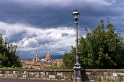 Panorama of Florence with dramatic sky before a storm Royalty Free Stock Images