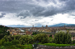 Panorama of Florence with dramatic sky before a storm Stock Photos