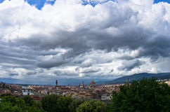 Panorama of Florence with dramatic sky before a storm Royalty Free Stock Photos