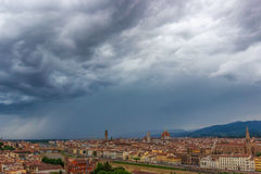 Panorama of Florence before storm. Panoramic view of old Florence from Piazzale Michelangelo, Tuscany, Italy Royalty Free Stock Photography