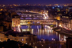 Panorama of Florence and View of Ponte Vecchio bridge, Florence, Tuscany, Italy. Royalty Free Stock Images