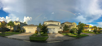 Panorama of Florida house and rainbow. Taken in Tampa Royalty Free Stock Photos