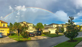 Panorama of Florida house and rainbow. Taken in Tampa Stock Photo