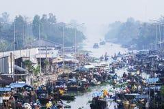 Panorama flotante del mercado de Nga Nam Fotografía de archivo